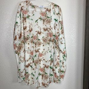Emory Park Kimono Wrap Cream Floral XL